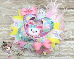 #Spring #Over the Top #Hairbow #Easterbunny  Over the Top Hair Bow Up for Auction 2/26/14' at www.facebook.com/missbsbowtique05 Etsy Shop: www.etsy.com/shop/missbsbowtique05