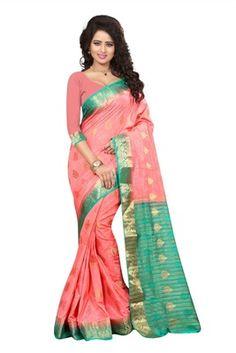 peach printed art silk saree with blouse - FASHION - 1569389 Art Silk Sarees, Peach, Art Prints, Blouse, Beautiful, Color, Design, Fashion, Art Impressions