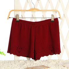 2016 New Summer Short Pants Cotton Openwork Hollow Out Lace Shorts Women Elastic Waist Shorts
