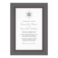 Winter Snowflake Wedding Invitations   Pink Gray