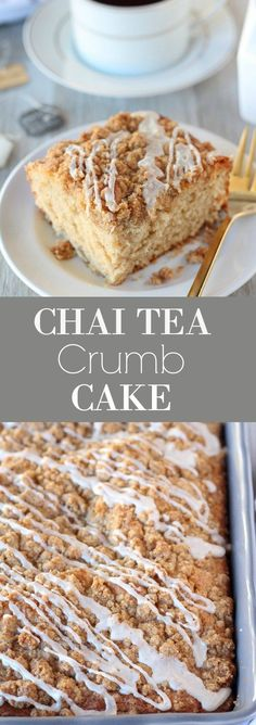 Chai Tea Crumb Cake - A tender cake infused with chai tea and chai spices, finished with a crumb topping and a lightly spiced icing. ad #TeaProudly