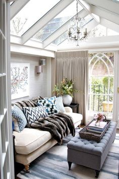 amazing skylights in this modern eclectic cozy room