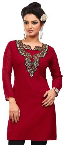 awesome Indian Kurti Top Tunic Party Dress Womens Blouse India Clothes (Red, L) -Bust size is displayed based on body measurement NOT actual apparel measurement. Kurti shirt's actual bust measurement (stich to stich, 1 inch below the arm hole) is 4 inches more than the displayed bust measurement. e.g. if tunic top's actual bust measurement is 44 inches, we display it as 40 inches. Suitable for formal and party wear Length around 34 inches…