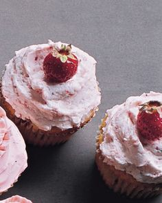 Real Strawberry Cupcake recipe, topped with Strawberry Buttercream on Martha Stewart.