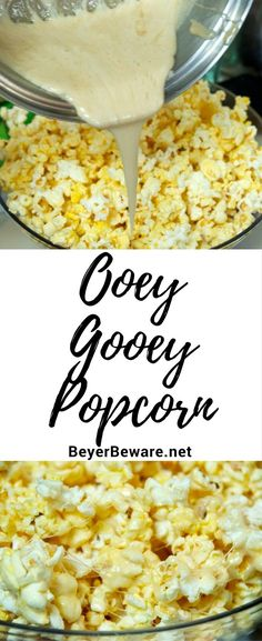 Ooey-gooey popcorn entails marshmallow sweetness poured over buttery popcorn for the perfect sweet and salty treat. Ooey-gooey popcorn entails marshmallow sweetness poured over buttery popcorn for the perfect sweet and salty treat. Salty Snacks, Yummy Snacks, Snack Recipes, Cooking Recipes, Yummy Food, Sweet Popcorn Recipes, Popcorn Snacks, Flavored Popcorn, Popcorn Balls