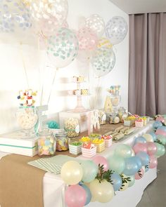 Home Design Ideas Candy Bar Bautizo, Candy Bar Comunion, Bunny Birthday, Girl Birthday, First Birthday Parties, First Birthdays, Pastell Party, Pastel Candy, Candy Table