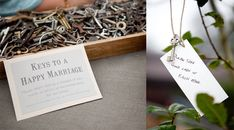 Keys as a guest book: guests pick a key, attach a note with their marital advice to it, and tie it to a tree. (or pin on a board, or put in a jar)
