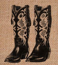 Burlap, Burlap Print, Burlap Wall  Art, Burlap Print, Burlap Nursery Art, Burlap Print, Family Sign Burlap Art, Cowboy Boots on Burlap. $22.00, via Etsy.