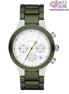 DKNY Chronograph White Dial Green Women's Watch