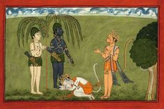Alliance of Rama and Sugriva. Ramayana, Chant IV, page 98, Gouache on paper, India, Pahari School, Mankot, ca.1710-25.