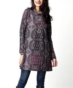 Another great find on #zulily! Plum Paisley Mock Neck Tunic #zulilyfinds