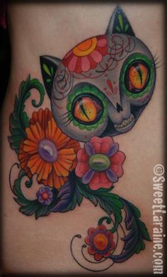 Day of the dead Cat tattoo by Sweet Laraine of San Antonio, TX