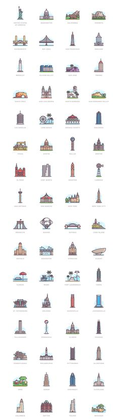 332 Landmarks on Behance grafik plakat
