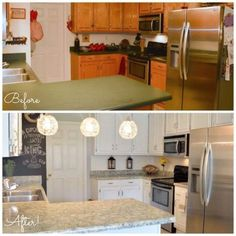 Remodel your kitchen on a tight budget using Titanium Infusion cabinet paint and Sicilian Sand granite countertop paint all for less than $200!!!