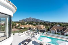 Villa for sale in Aloha, Nueva Andalucia. Well located in the heart of the Golf Valley, this impressive east facing four bedroom villa is close to all local . Marbella Spain, Andalucia, Marina Bay Sands, Villas, Terrace, Golf, Building, Modern, Travel