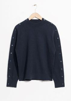 Other Stories image 1 of Snap Button Sleeve Sweater in Blue