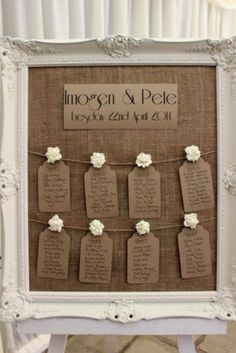 Small for guests to have to read, but cute idea. Rustic/Vintage, Hessian Wedding Table Plan