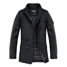 Sale 19% (29.99$) - Fashion Stand Collar Multi-pocket Men Winter Warm Coat