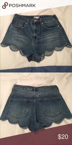 NWOT scalloped jean shorts. Great for summer!!! Took tags off and realized I didn't need them. Bought a couple weeks ago so they are new this season. Never been worn. Size 6 and they fit me perfectly (usually I am a size 2/4 or 27.  I Always size up in h&m). H&M Shorts Jean Shorts