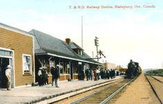 HAILEYBURY , Ontario - Temiskaming & Northern Ontario Railway station Valentine 1915 pc