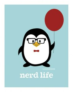 nerd-life penguin with red balloon