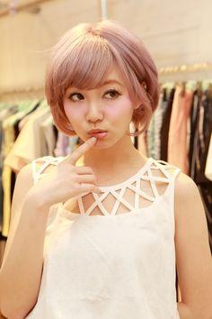 Pink Short Bob Hair Cut / Style with Bangs