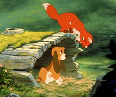 Image shared by Helga Couto Bannwart. Find images and videos about disney, fox and hound and o cão e a raposa on We Heart It - the app to get lost in what you love. Walt Disney, Disney Pixar, Disney Dogs, Disney Animation, Disney And Dreamworks, Disney Magic, Disney Art, Disney Stuff, Dreamworks Movies