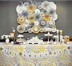 Yellow and Grey Vintage Wedding Backdrop