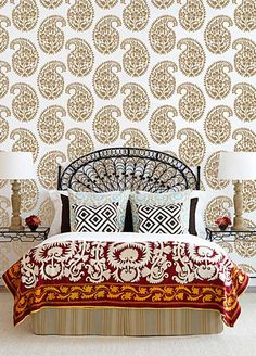 Pretty Large Paisley Wall Stencils | Indian Paisley Damask Stencils | http://www.royaldesignstudio.com/
