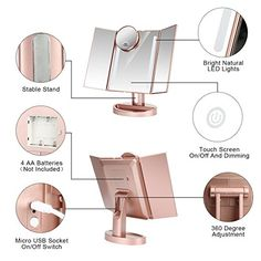 LEJU Makeup Mirror/Natural Daylight Lighted Vanity Mirror with Touch Screen Dimming, Detachable Magnification Spot Mirror, Two Power Supply Mode (Rose Gold) Cute Bedroom Ideas, Girl Bedroom Designs, Room Ideas Bedroom, Bedroom Decor, Lighted Vanity Mirror, Makeup Mirror With Lights, Vanity Makeup Rooms, Rose Gold Room Decor, Mode Rose