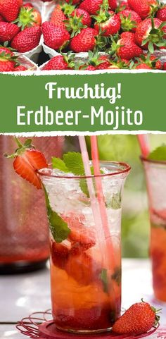 Summer cocktail: Fruity strawberry mojito - Fruity strawberry mojito with strawberries. Fruity strawberry mojito with strawbe - Non Alcoholic Drinks, Cocktail Drinks, Cocktail Recipes, Blueberry Mojito, Strawberry Mojito, Strawberry Summer, Smoothie Recipes, Smoothies, Drink Recipes