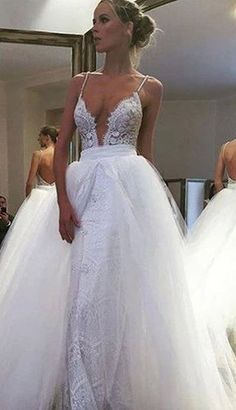 Sexy Deep V-neck Floor-Length Wedding Dress Backless with Lace wedding,wedding dress,wedding gown,wedding gowns,wedding dresses