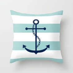 Navy Blue and Mint Anchor and Stripes Throw Pillow