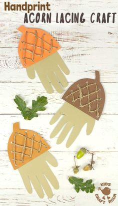 How adorable is this Handprint Acorn Lacing Craft? Acorn crafts are perfect for Autumn and this handprint acorn lets children lace and thread a textured acorn cap all the while building their fine motor skills in a fun way. A lovely lacing activity for pr Autumn Activities For Kids, Fall Preschool, Fall Crafts For Kids, Thanksgiving Crafts, Preschool Activities, Fun Crafts, Arts And Crafts, Time Activities, Autumn Art Ideas For Kids