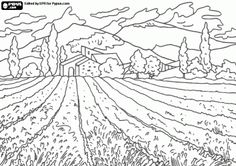Agricultural Landscape With The Field And Farm House Coloring Page