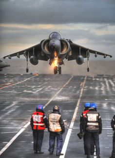 Sailors watch how a BAe Harrier II of Royal Navy performs a vertical landing aboard the aircraft carrier HMS Ark Royal 🇬🇧. Military Jets, Military Aircraft, Fighter Aircraft, Fighter Jets, Tomcat F14, Hms Ark Royal, Navy Aircraft, Flight Deck, Navy Ships