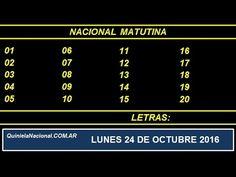 Quiniela - El Video oficial de la Quiniela Matutina Nacional del día Lunes 24 de Octubre de 2016. Info: www.quinielanacional.com.ar