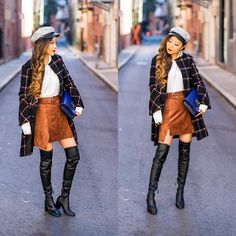 Get this look: http://lb.nu/look/8875091  More looks by Sasa Zoe: http://lb.nu/shallwesasa  Items in this look:  Coat, Top, Skirt, Cap, Earrings, Boots, Bag   #chic #classic #romantic #plaid