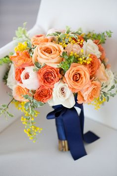 Modern Preppy Wedding Planning Strictly Weddings is part of Preppy wedding - When it comes to modern preppy wedding planning this navy and tangerine inspiration takes the cake for us with bold, clean lines and soft calligraphy Blue Orange Weddings, Tangerine Wedding, Orange Wedding Flowers, Spring Wedding Colors, Prom Flowers, Fall Wedding Bouquets, Wedding Flower Arrangements, Navy Peach Wedding, Yellow Weddings