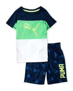Puma (Boys 4-7) 2-Piece Color Block Tee & Shorts Set Toddler Outfits, Baby Boy Outfits, Kids Outfits, Black Baby Boys, Boys Swimwear, Kids Pants, Dresses Kids Girl, Baby Kids Clothes, Baby Boy Fashion