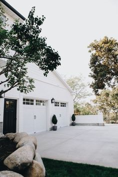 White garages.