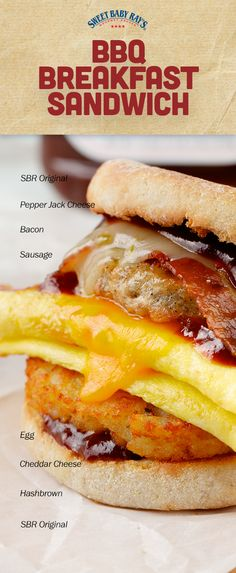 BBQ Breakfast Sandwich | Sweet Baby Ray's Original Barbecue, Pepper Jack Cheese, Bacon, Sausage, Egg, Hasbrown,