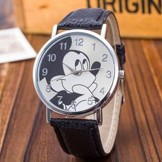 New Women Watch Mickey Mouse Pattern Fashion Quartz Watches Casual Cartoon Leather Clock Girls Kids Wristwatch Relogio Feminino Ladies Dress Watches, Mickey Mouse Cartoon, Casual Watches, Elegant Watches, Fashion Watches, Children's Watches, Pattern Fashion, Watch Bands, Clock