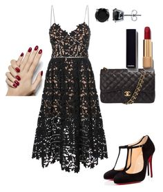 """""""Untitled #431"""" by jennah-abdulla on Polyvore featuring self-portrait, Christian Louboutin, Chanel and BERRICLE"""