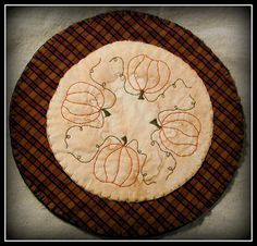 Primitive Pumpkin Candle Mat by ButtonsInTheAttic on Etsy, $12.95