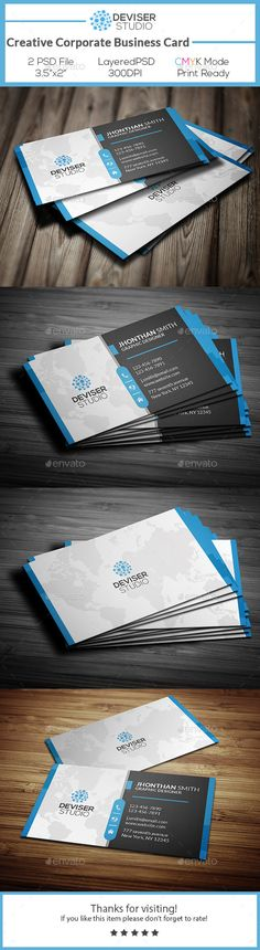 Creative Corporate Business Card Template #design Download: http://graphicriver.net/item/creative-corporate-business-card/12436474?ref=ksioks