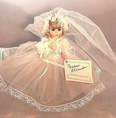 "1980's Madame Alexander Doll 485 8"" Bride Blonde Restrung with Tag #MadameAlexander"