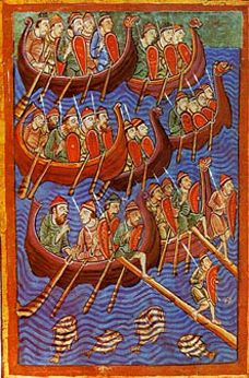 """Danes about to invade England- From """"Miscellany on the life of St. Edmund"""" from the 12th century."""
