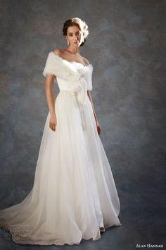alan hannah wedding dresses 2014 dolores gown removable overskirt fur wrap