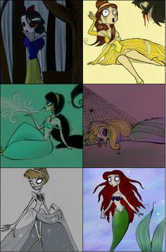 Tim burtons disney princesses - I love Tim Burton's work!!!! This is great.